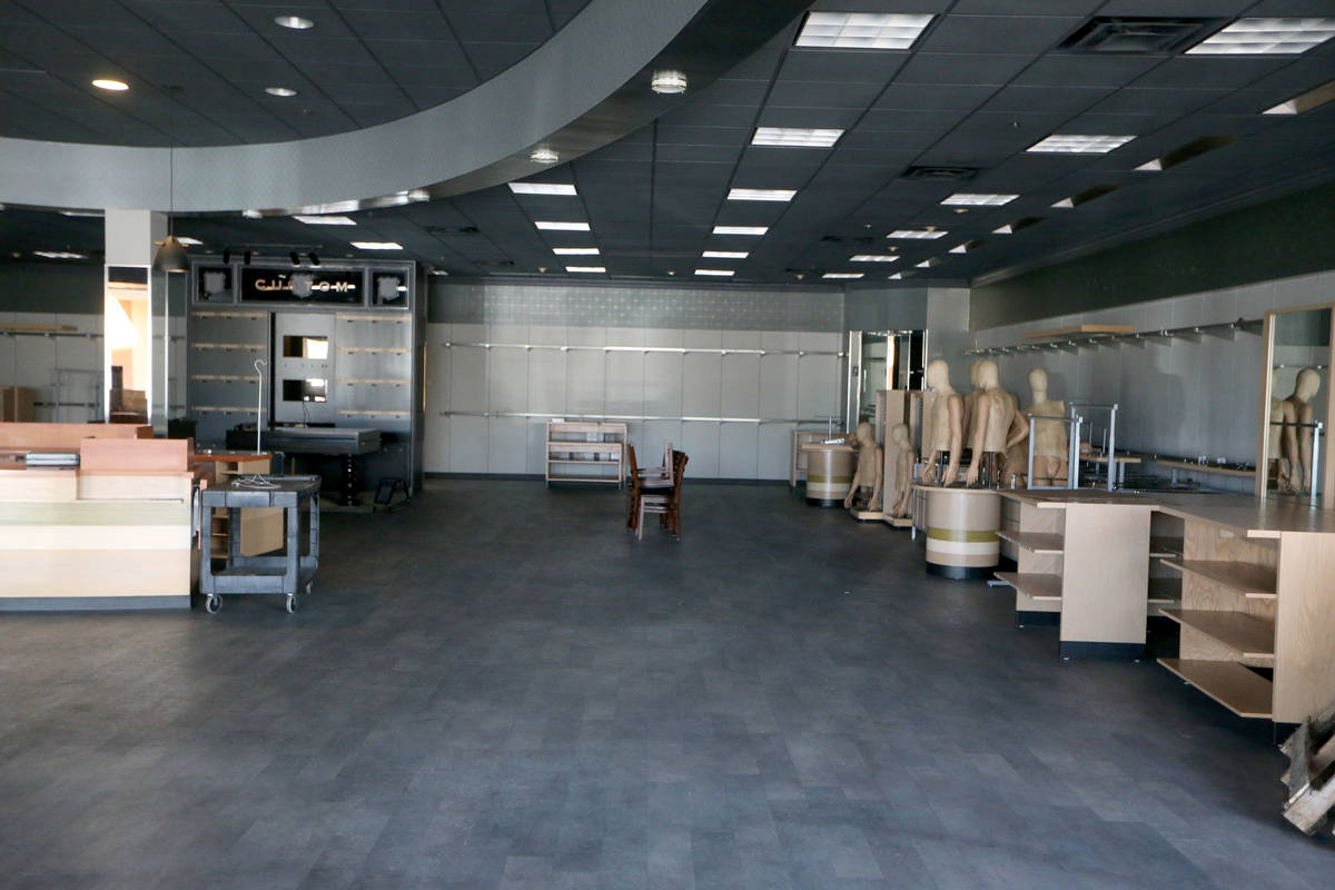The closed Jos. A. Bank clothing store at the Crossroads Commons shopping center in Las Vegas, ...