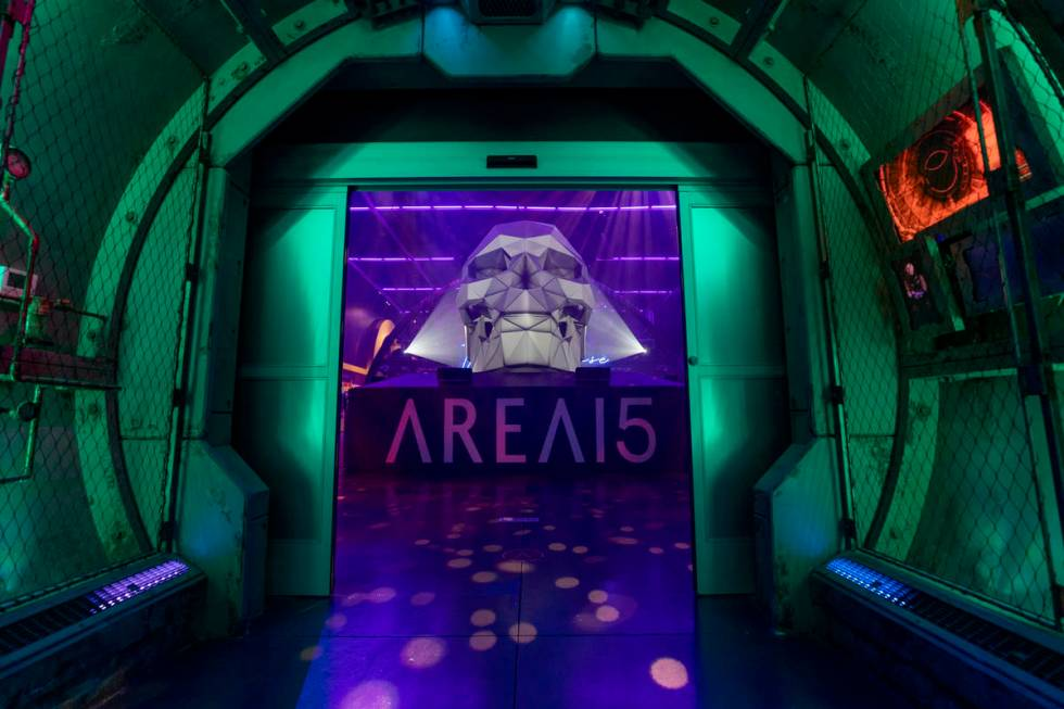 The entrance of Area15 is seen in Las Vegas on Monday, Sept. 14, 2020. (Elizabeth Page Brumley ...