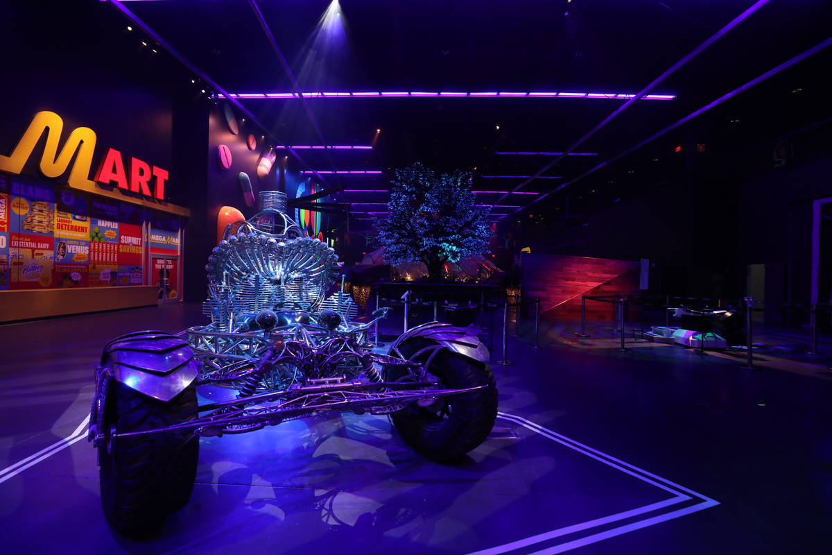 Henry Chang's kinetic art car Valyrian Steel is seen inside of Area15 days before the opening, ...