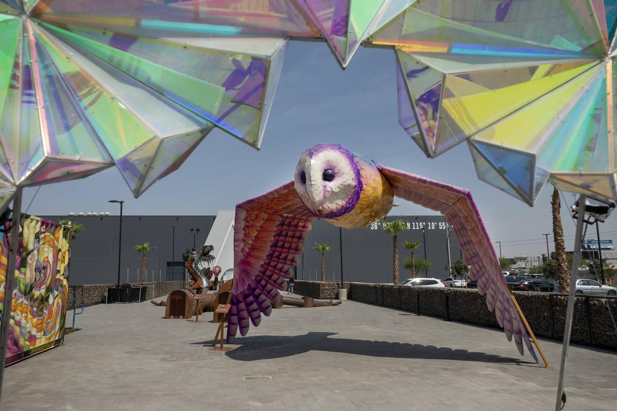 Area15's Art Island outdoor gallery is seen days before the doors open, in Las Vegas on Monday, ...