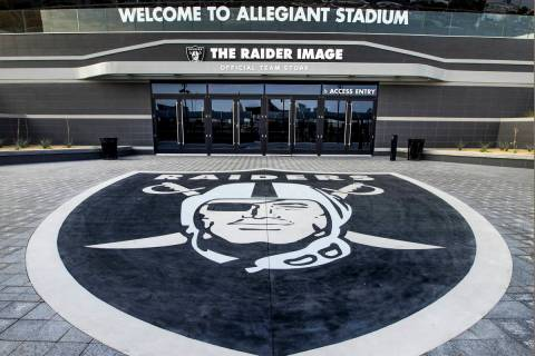 The Raider Image official team store is located on the north entrance of Allegiant Stadium on T ...