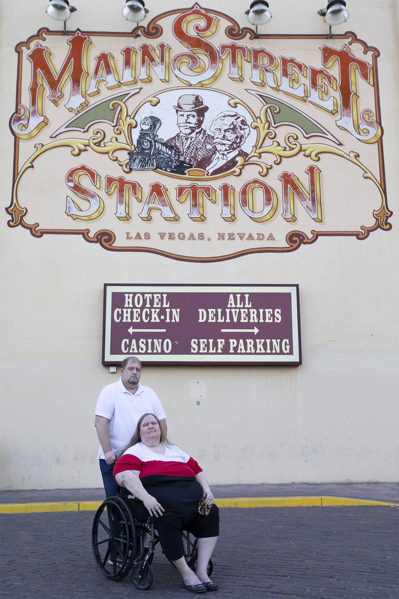 Married couple Jeff Gove and Lori Gove pose for a portrait outside Main Street Station on Thurs ...