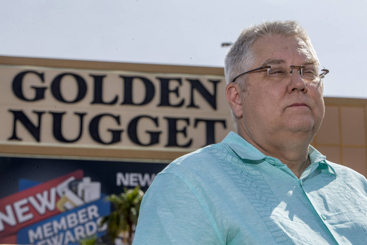 Keith Brooks poses for a portrait outside his former workplace of six years, Golden Nugget Laug ...