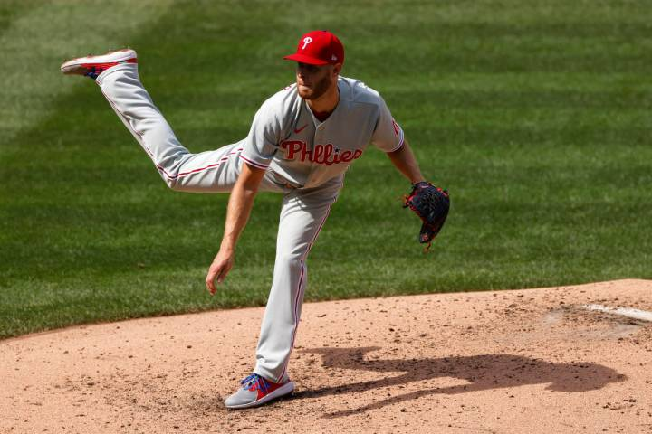 Philadelphia Phillies starting pitcher Zack Wheeler delivers a pitch during the third inning of ...