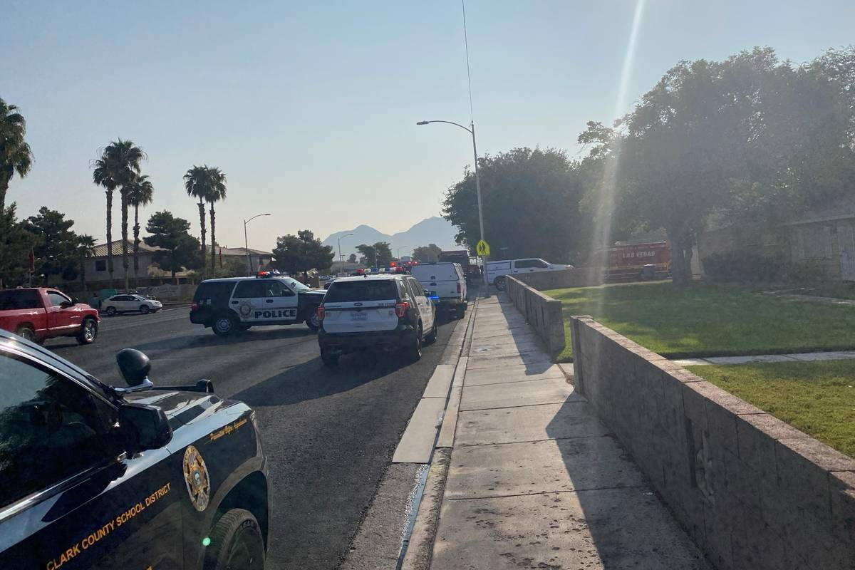 Las Vegas police and firefighters were on the scene of a reported explosion at a residence on t ...