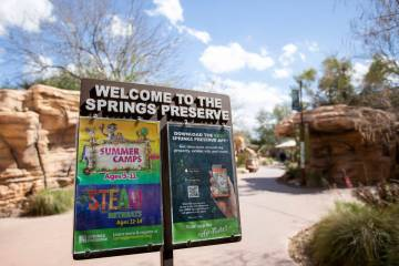 Springs Preserve, citing coronavirus concerns, closed to the public on Monday, March 16. A sign ...