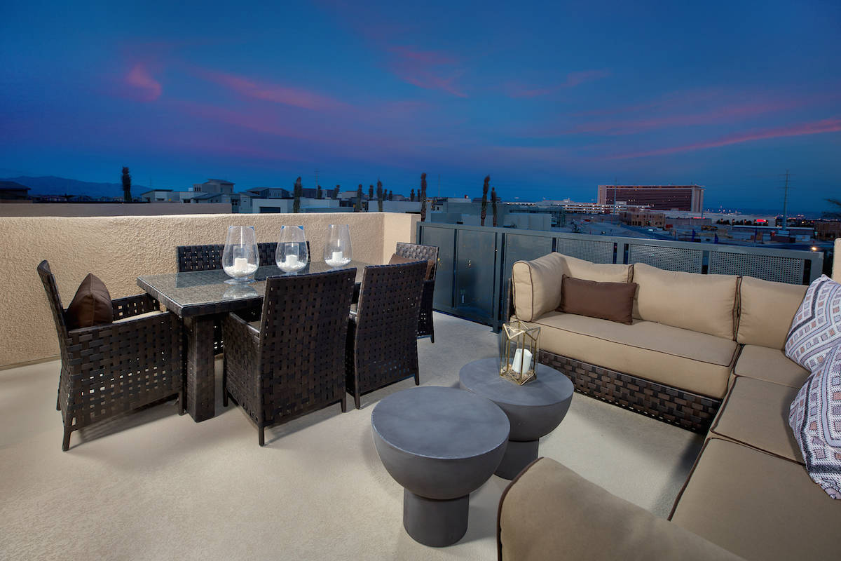 Taylor Morrison Affinity by Taylor Morrison in the village of Summerlin Centre features rooftop ...