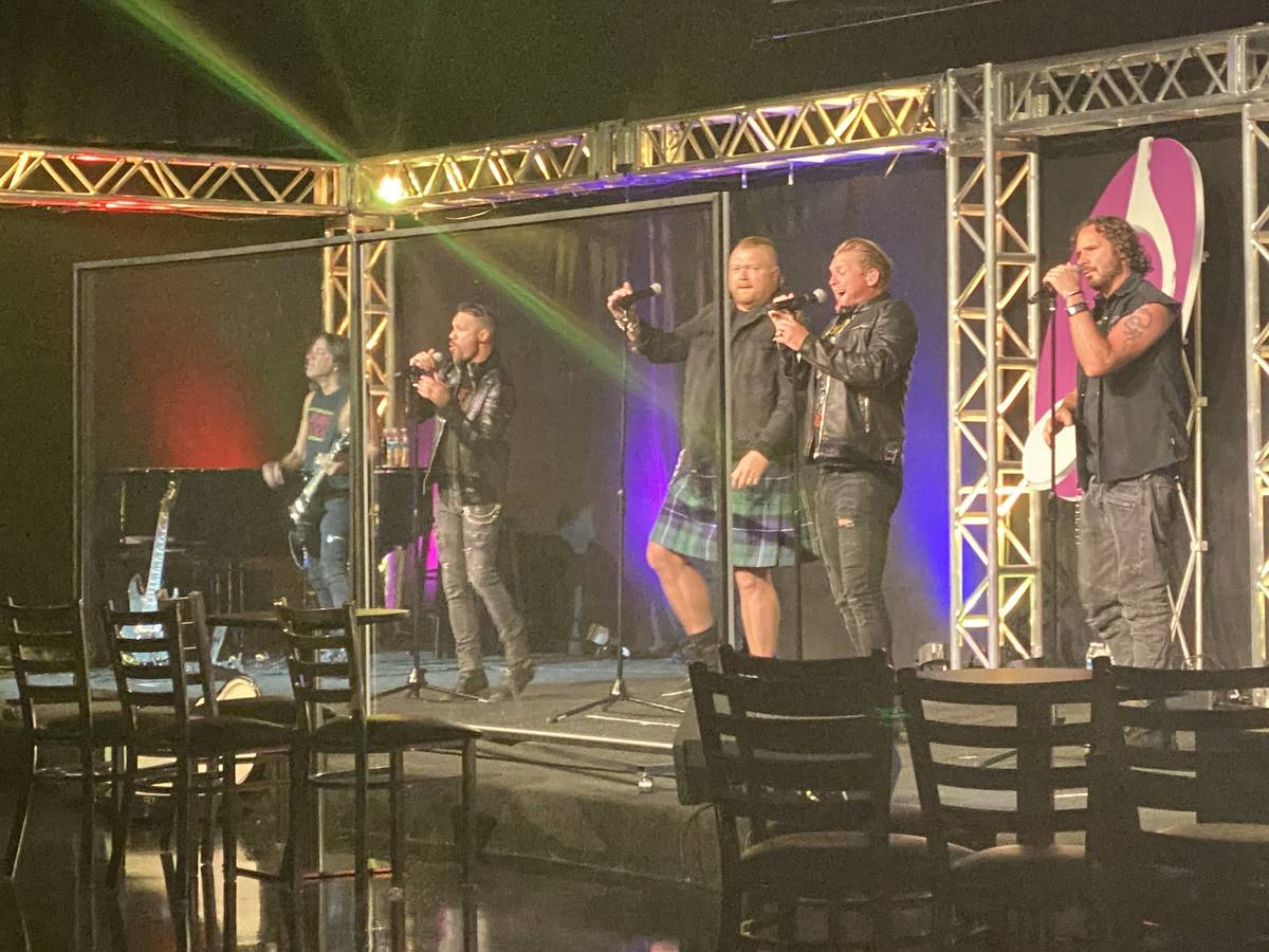 The Tenors of Rock are shown behind plexiglass at Notoriety on Sunday, July 5, 2020. (John Kats ...