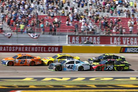 Race car driver Brad Keselowski (2) leads the South Point 400 NASCAR Cup Series auto race at th ...