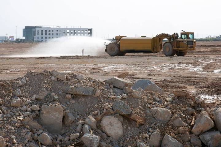 Heavy construction equipment is seen at UnCommons project site at the Southeast corner of S. Du ...