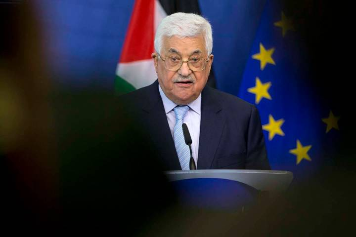 In this March 27, 2017, file photo, Palestinian President Mahmoud Abbas speaks during a new con ...