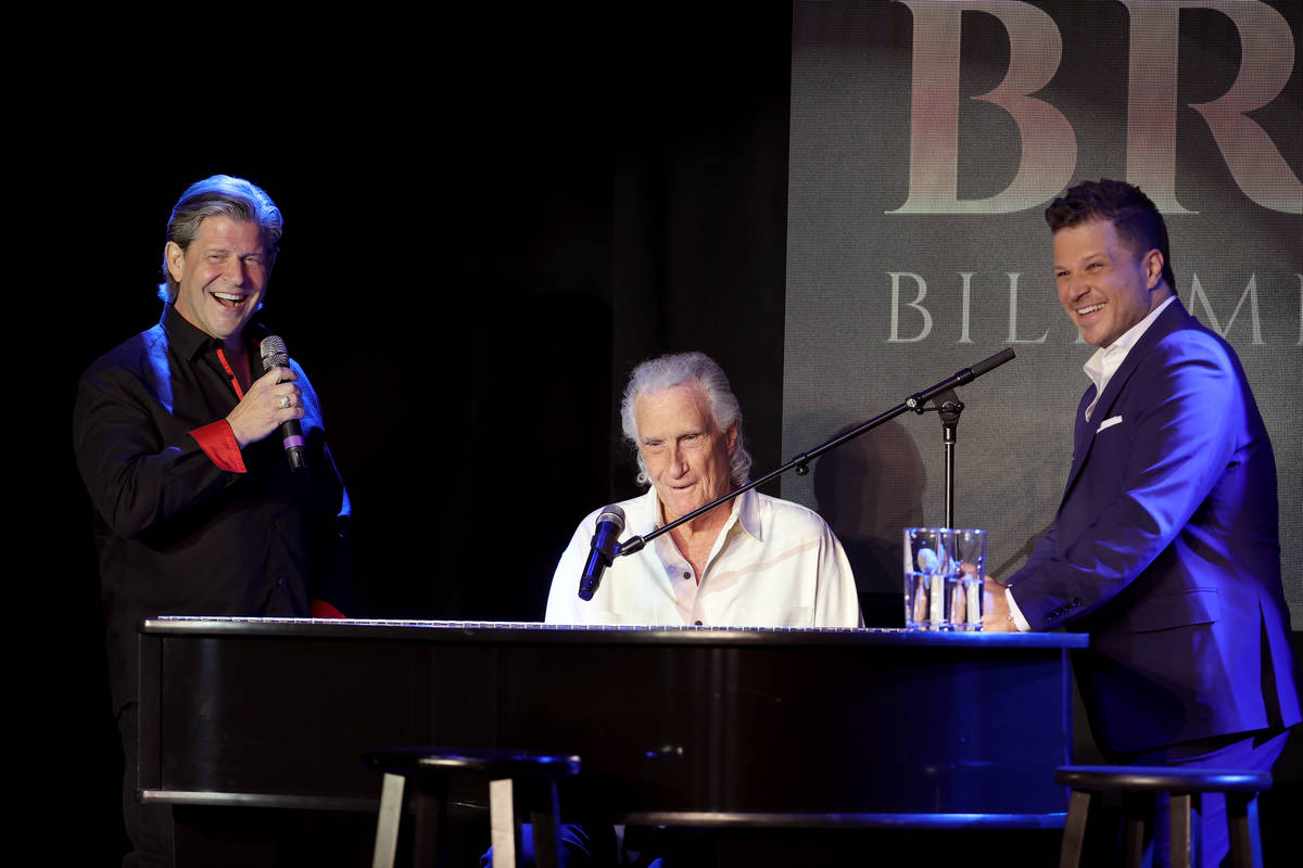 From left, Bucky Heard, Bill Medley and host Mark Shunock perform during a new streaming series ...