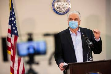 Gov. Steve Sisolak gives an update on the state's COVID-19 response at the Sawyer Building in L ...