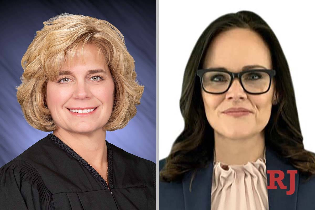 Diana Sullivan, left, and Shanon Clowers-Sanborn, candidates for Las Vegas Justice of the Peace ...