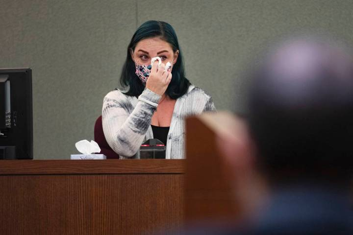 Alisha Burns takes the stand during an evidentiary hearing to overturn her 2003 second-degree m ...