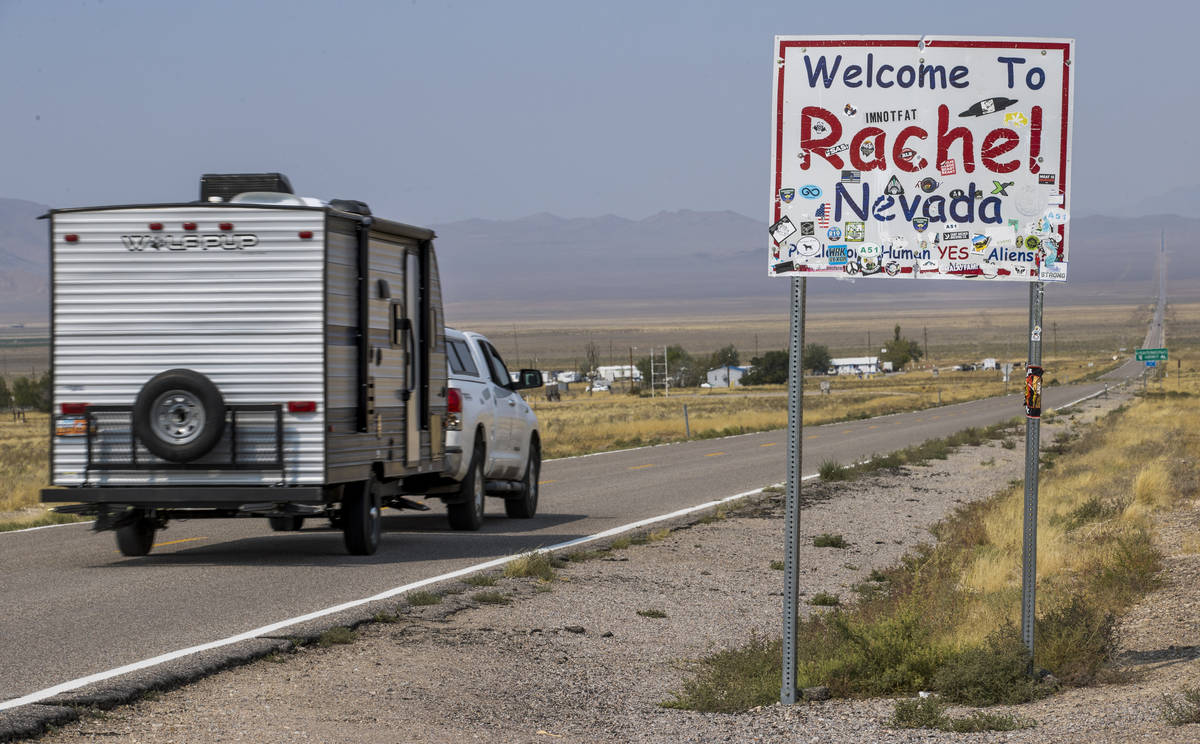 A vehicle travels along state Route 375 entering Rachel, which was much busier a year ago durin ...