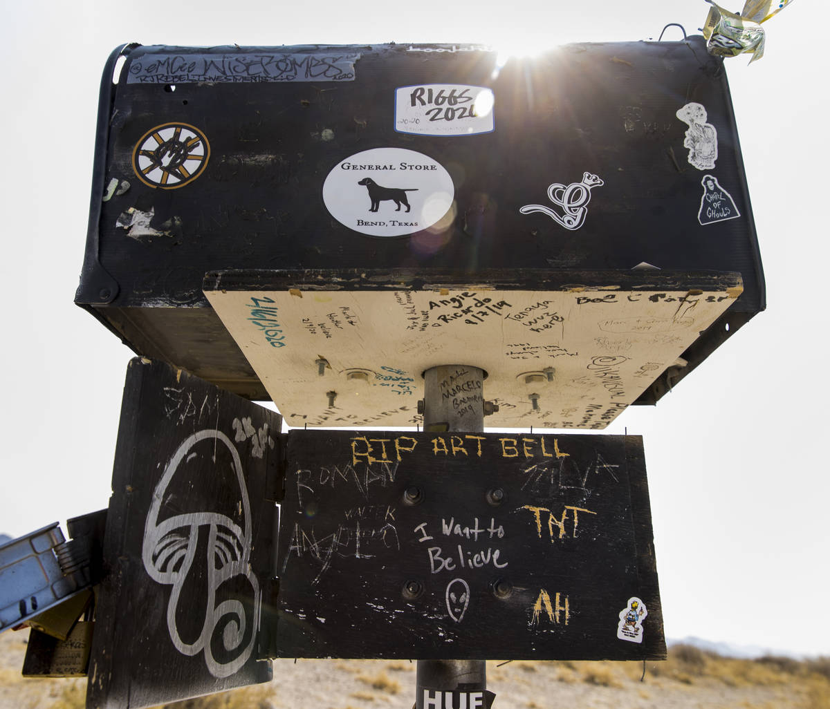 The famed black mailbox sits on S.R. 375 between Hiko and Rachel on Thursday, Sept. 17, 2020. ( ...