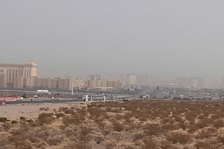 Smoke and ozone were easy to discern in the Las Vegas sky early Friday, Sept. 18, 2020. Smoke f ...
