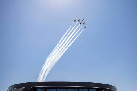 The U.S. Air Force Thunderbirds fly over the Allegiant Stadium on Monday, Aug. 31, 2020. (Eliza ...