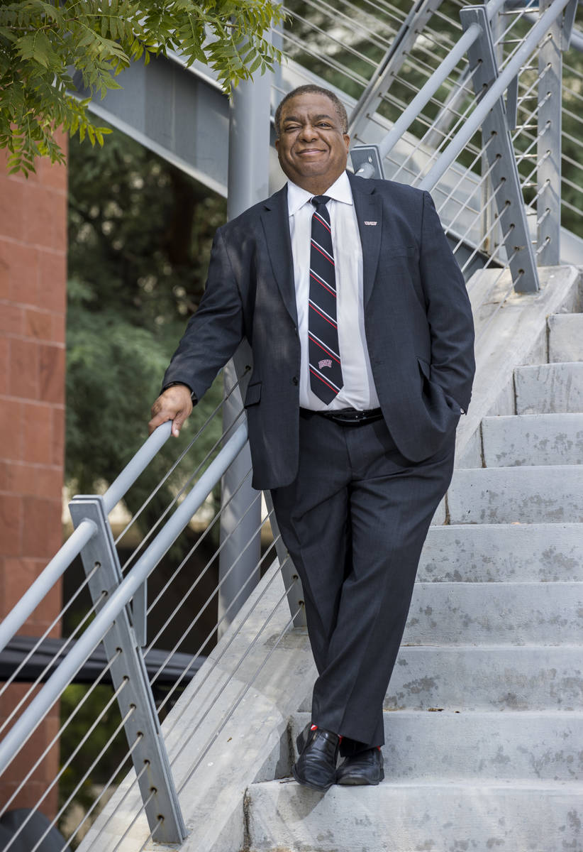 New UNLV president Keith Whitfield about campus on Friday, Sept. 18, 2020, in Las Vegas. (L.E. ...