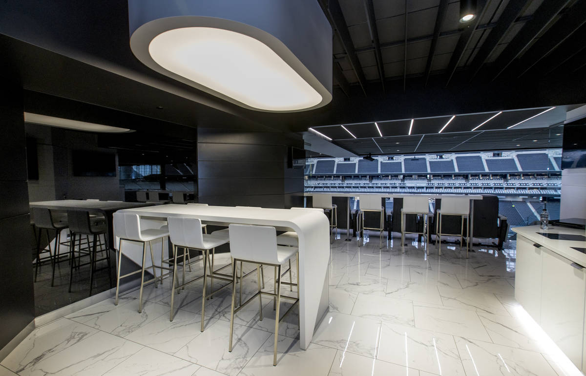 Suites at Allegiant Stadium are modernly designed and include marble flooring and excellent vie ...