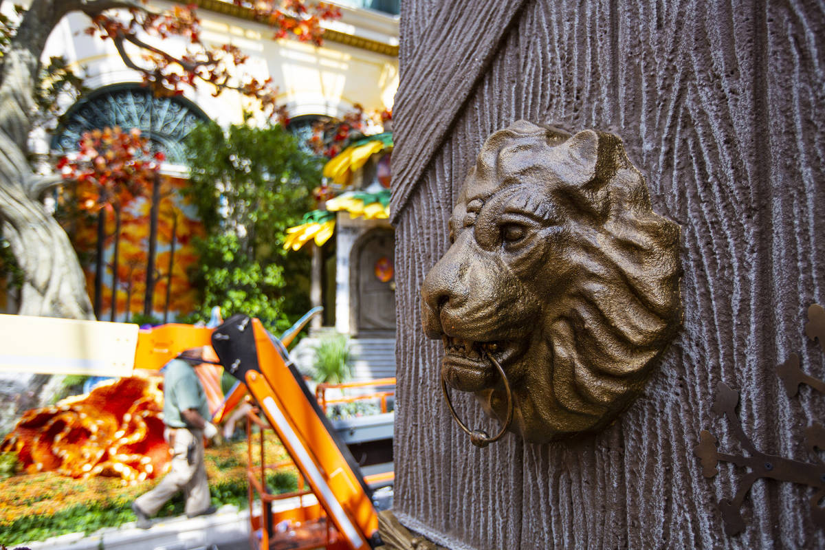 """A lion is part of the """"Into the Woods"""" fall display at the Bellagio Conservatory and Botanical ..."""