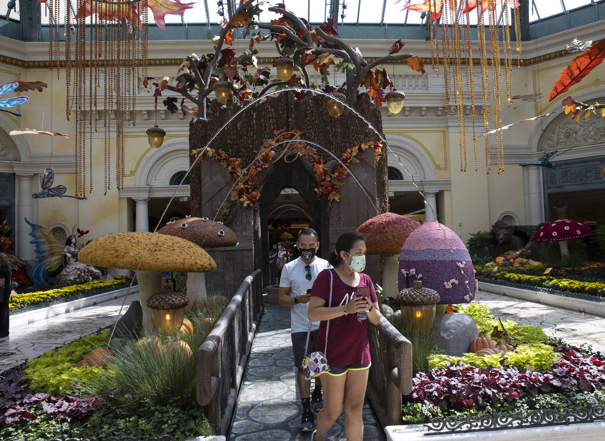 Tourists visit the new fall display called ÒInto the WoodsÓ, at the Bellagio Conserva ...