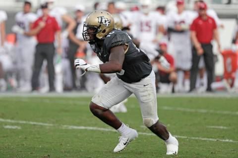 In this Sept. 14, 2019 file photo, Central Florida linebacker Eriq Gilyard rushes the Stanford ...