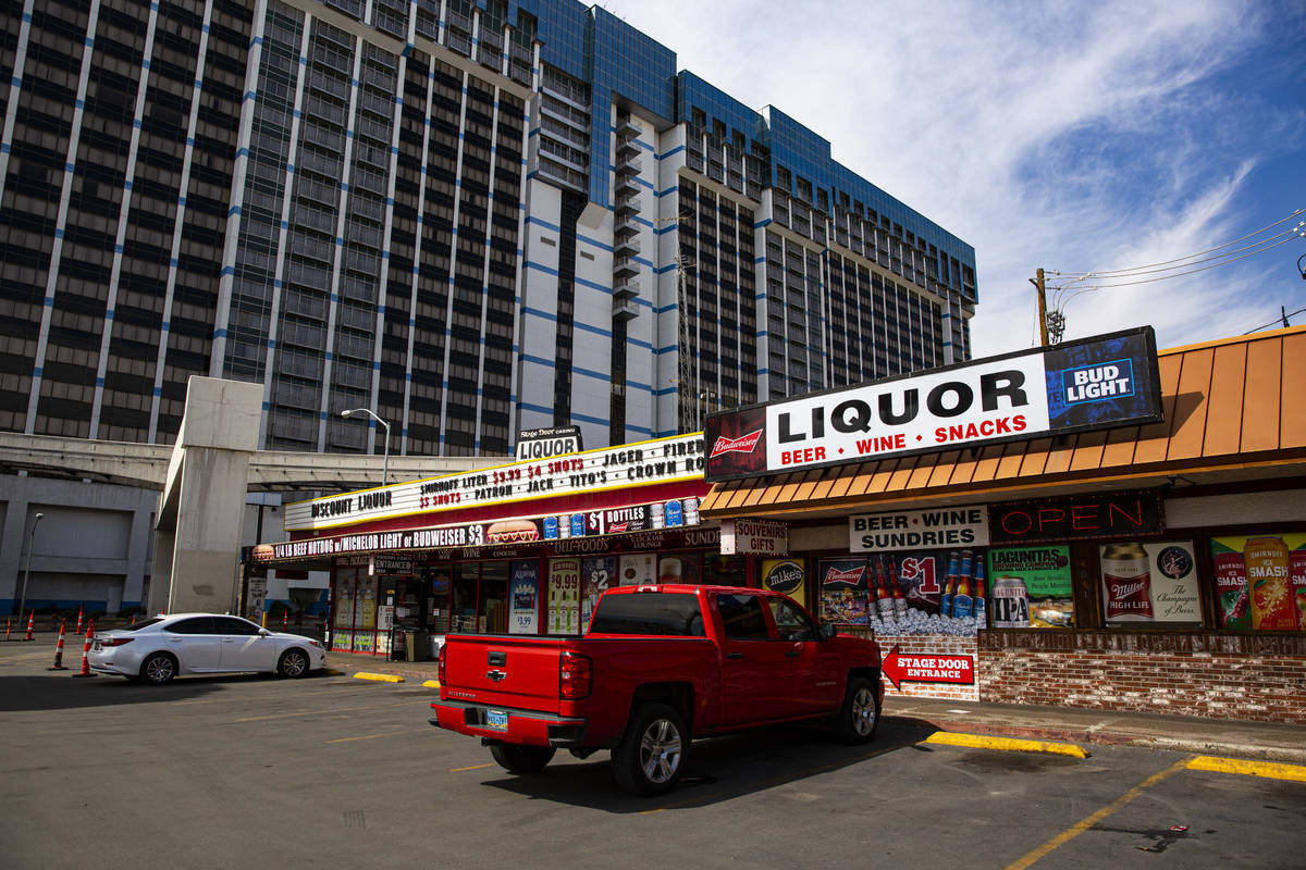 A view of the Stage Door Casino and market off Flamingo Road near Las Vegas Boulevard on Thursd ...