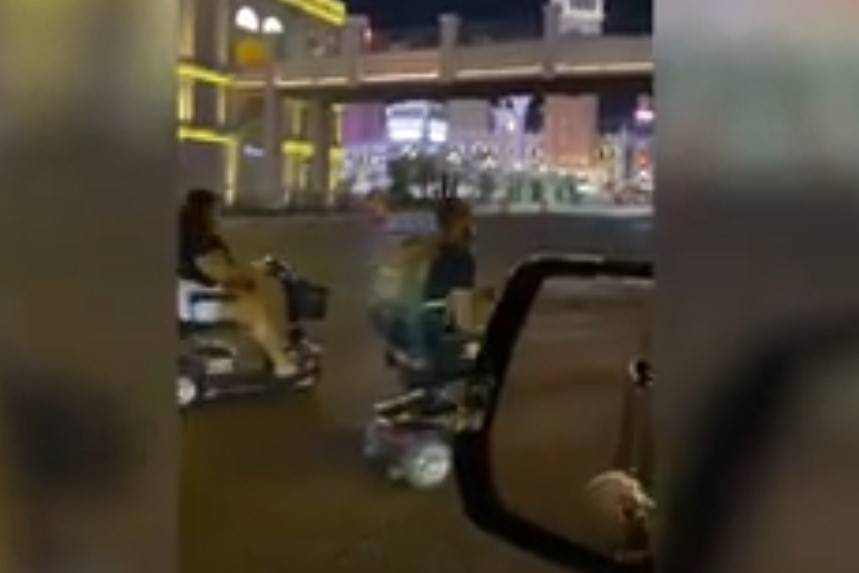 Mobility scooters are seen on the Las Vegas Strip. (Las Vegas Review-Journal)