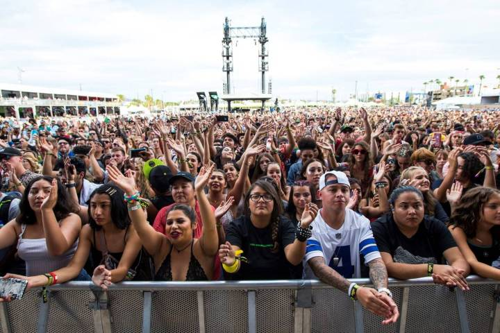 Fans react as Lewis Capaldi performs at the downtown stage during the Life is Beautiful festiva ...