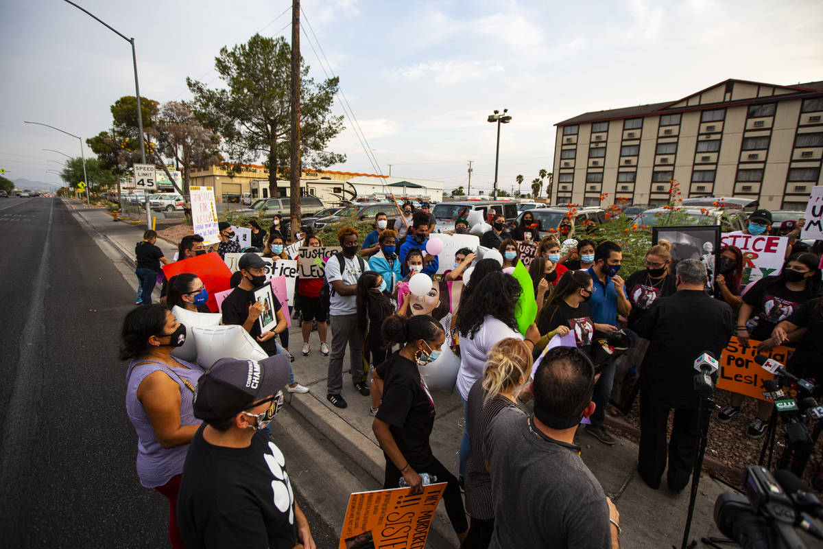 People gather in memory of Lesly Palacio, who was found slain near Valley of Fire State Park, a ...