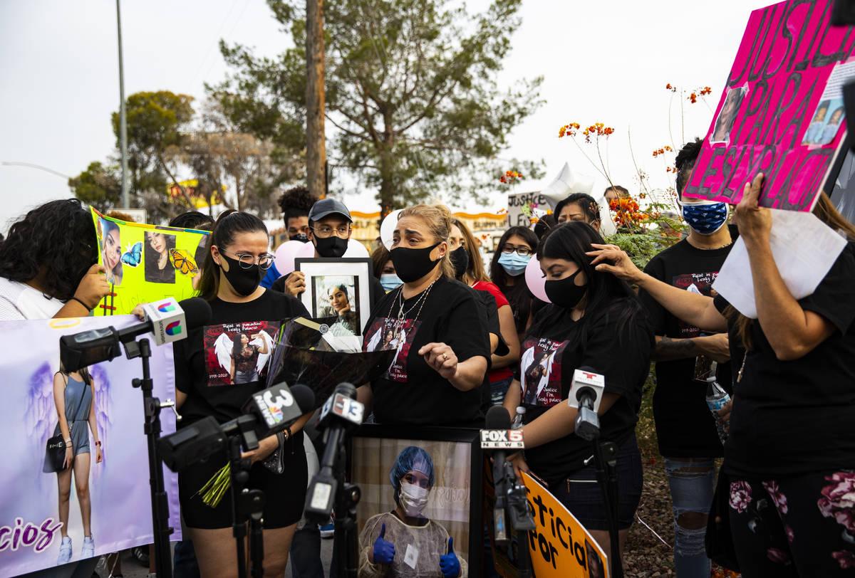 Aracely Palacio, center, talks about her daughter Lesly Palacio, who was found slain near Valle ...