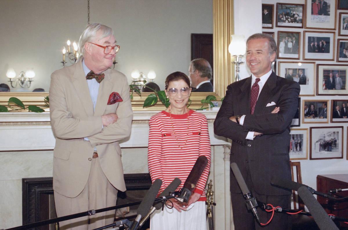 In this June 15, 1993, file photo, Judge Ruth Bader Ginsburg poses with Sen. Daniel Patrick Moy ...