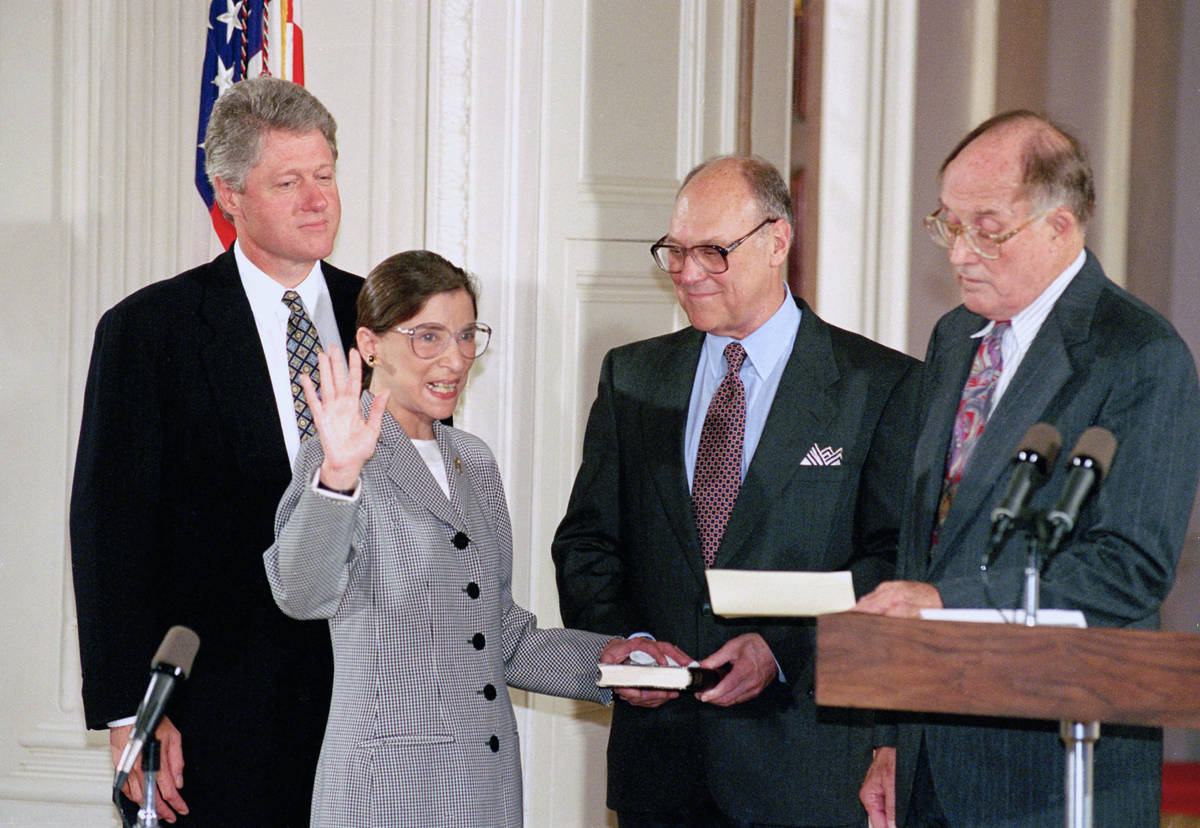 In this Aug. 10, 1993, file photo, Supreme Court Justice Ruth Bader Ginsburg takes the court oa ...