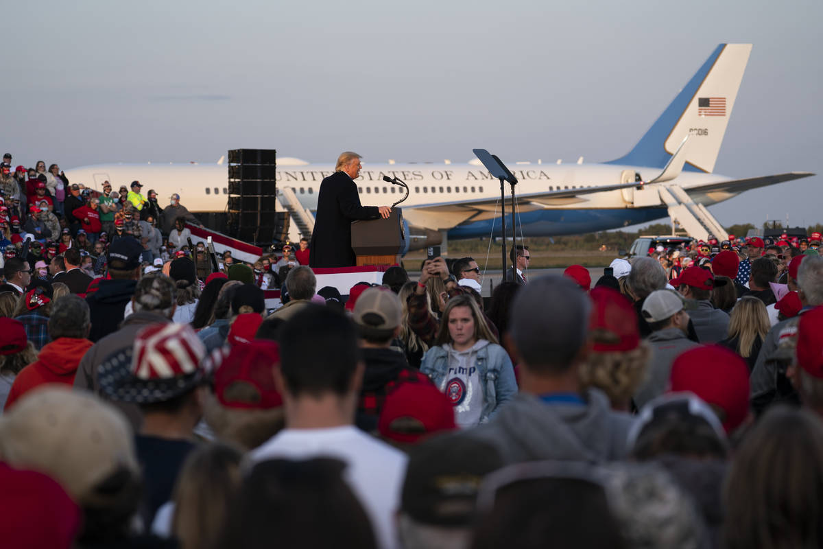 President Donald Trump speaks during a campaign rally at Bemidji Regional Airport, Friday, Sept ...