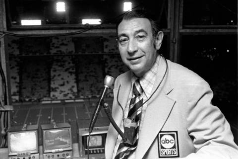 Television sports reporter Howard Cosell poses in the broadcast booth shortly before the Dallas ...