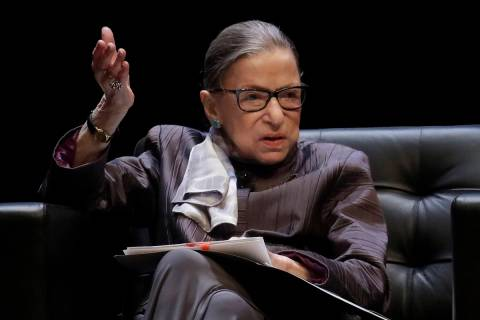 FILE - In this Oct. 21, 2019, file photo, U.S. Supreme Court Justice Ruth Bader Ginsburg gestur ...