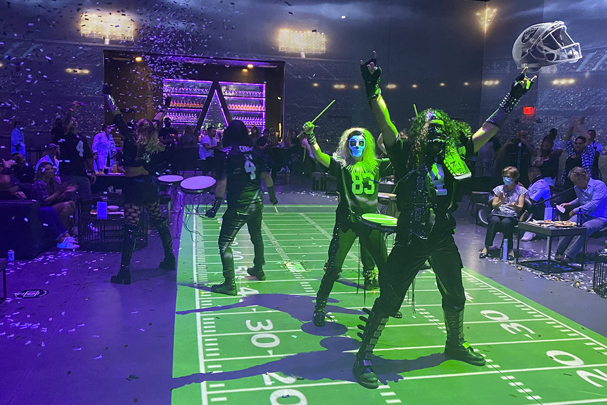 The ambient drumline halftime performance at The Portal at Area15 is shown during the Portal at ...