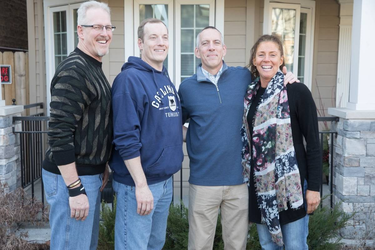 Left to right: Greg Peistrup with brothers Tim and Jeff, and sister Amy in Chicago in 2018. (Co ...