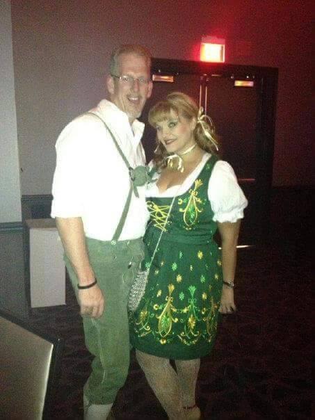 Greg Peistrup and Kristin Bell-Peistrup dressed up as a couple celebrating German Oktoberfest f ...
