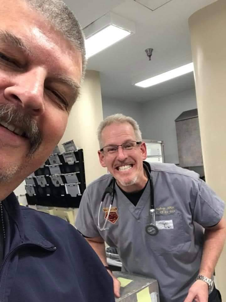 John Osborne and Greg Peistrup in winter 2019 at North Vista Hospital. (Courtesy Kristin Bell-P ...