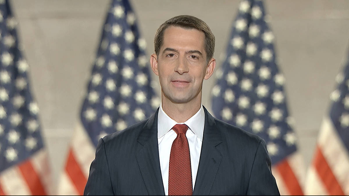 In this image from video, Sen. Tom Cotton, R-Ark., speaks from Washington, during the fourth ni ...