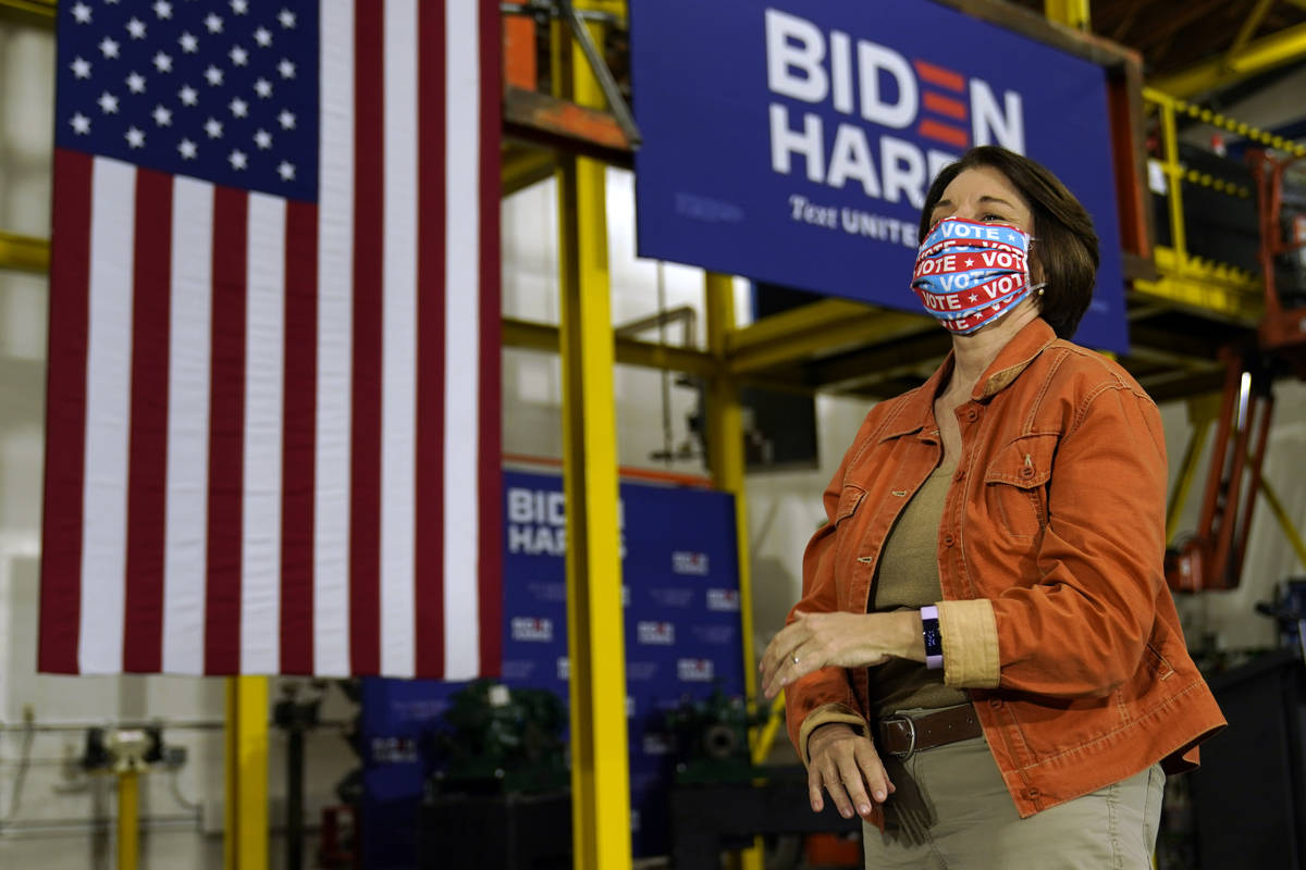 Sen. Amy Klobuchar, D-Minn., attends an event with Democratic presidential candidate former Vic ...