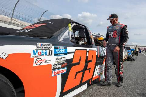 Brett Moffitt (23) before the start of a NASCAR Truck Series race at Dover International Speedw ...