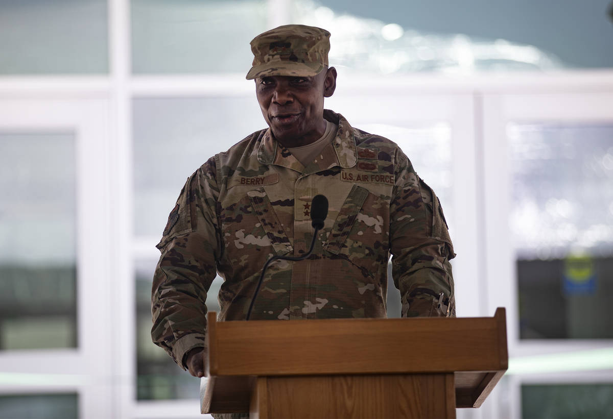 Nevada National Guard Major General Ondra Berry addresses the audience at a ribbon cutting cere ...