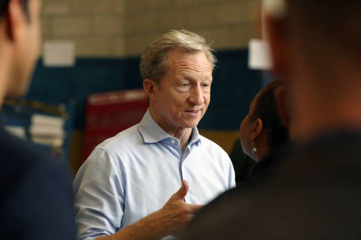 Presidential candidate Tom Steyer greets caucus participants at at Cheyenne High School in Nort ...