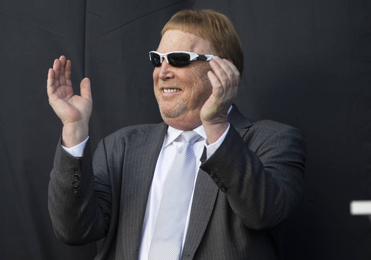 Raiders owner Mark Davis fires up the crowd during an event to officially announce Las Vegas as ...