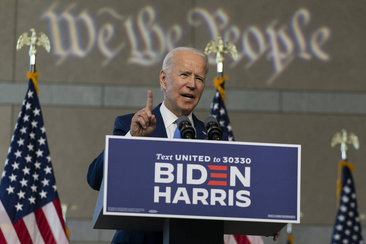 Democratic presidential candidate and former Vice President Joe Biden speaks at the Constitutio ...