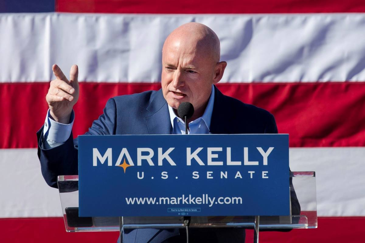 Former astronaut Mark Kelly speaks during his U.S. Senate campaign kickoff event in Tucson, Ari ...